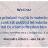 """Webinar sul Decreto """"Semplificazioni-bis"""" e le novità in materia di Contratti pubblici"""
